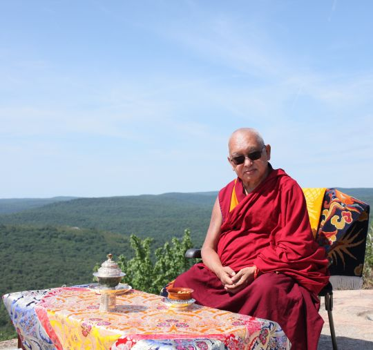 Lama Zopa Rinpoche on Bear Mountain, New York, US, July 2016. Photo by Ven. Lobsang Sherab.