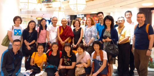 Khen Rinpoche Geshe Chonyi with ABC's prostration group, Amitabha Buddhist Centre, Singapore, July 2016. Photo courtesy of ABC.