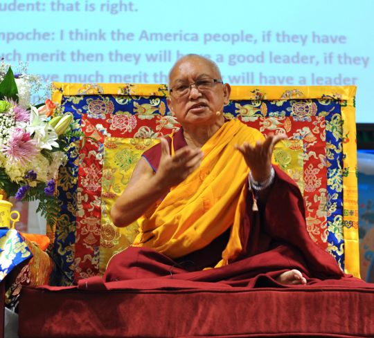 Lama Zopa Rinpoche teaching at Light of the Path Retreat in Black Mountain, North Carolina, US, August 2016. Photo by Ven. Lobsang Sherab.