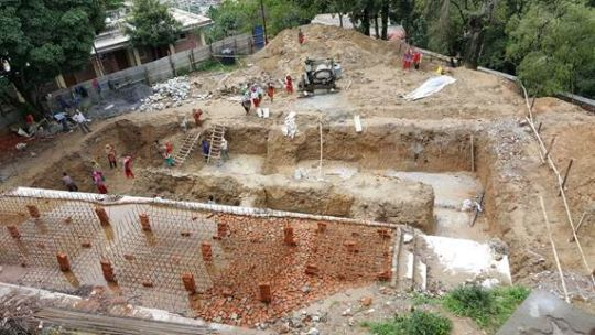 The foundation of the new Chenrezig Gompa being rebuilt at Kopan Monastery.