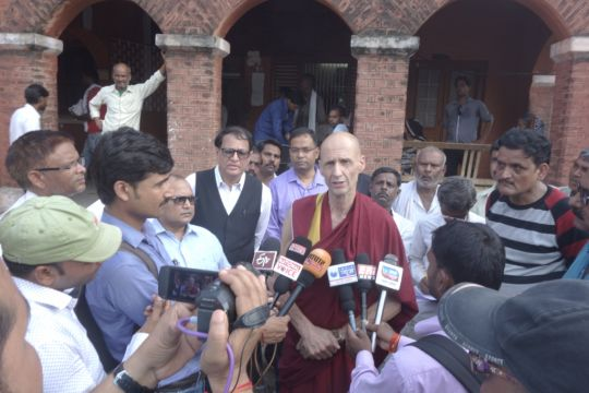 Ven. Kabir Saxena addressing the media outside the registrar's office in Kushinagar, UP, India, August 19, 2016
