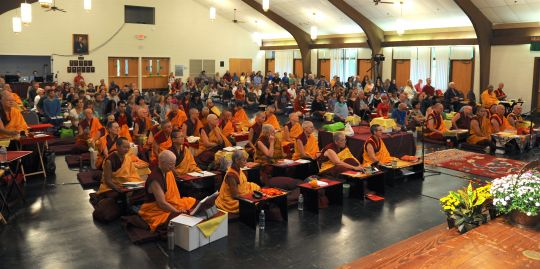 300 participants are attending Lama Zopa Rinpoche's 2016 Light of the Path retreat in North Carolina. This includes 40 ordained Sangha and directors, spiritual program coordinators, and students from various countries including Australia, Canada, Colombia, France, Germany, Italy, Malaysia, Mexico, Nepal, the Netherlands, New Zealand, Singapore, Spain, Switzerland and the UK. Photo by Ven. Sherab.