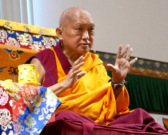 Lama Zopa Rinpoche teaching at Light of the Path retreat, North Carolina, US, August 2016. Photo by Ven. Roger Kunsang.