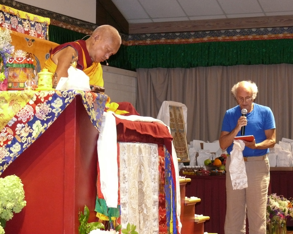 Lama Zopa Rinpoche with Nick Ribush, director of Lama Yeshe Wisdom Archive, reading praises he wrote for Rinpoche, Light of the Path retreat, North Carolina, US, August 2016. Photo courtesy of LYWA.
