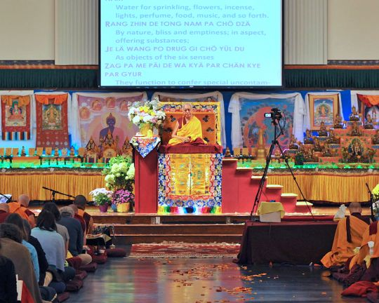 Lama Zopa Rinpoche teaching at Light of the Path retreat, August 2016. Photo by Ven. Losang Sherab.