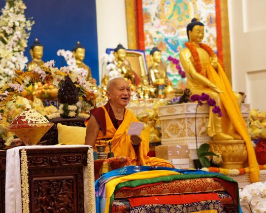 A view of Lama Zopa Rinpoche and a statue of Maitreya at the FPMT long life puja offered to Rinpoche at ABC on March 13, 2016. Photo by Tan Seow Kheng.