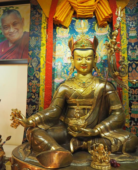 A life-sized Guru Rinpoche statue in one of ABC's prayer halls. Photo by Ven. Tenzin Tsultrim.