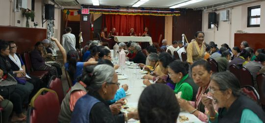 Lama Zopa Rinpoche having lunch with the members of he Himalayan Elders Project, New York, US, August 2016. Photo by Ven. Roger Kunsang.