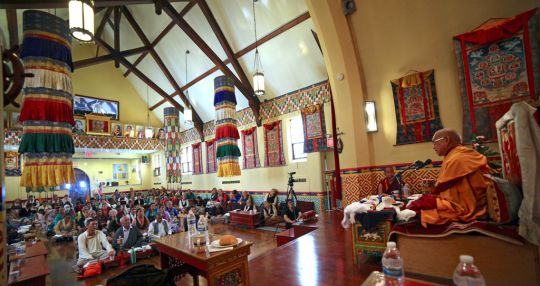 Lama Zopa Rinpoche giving advice to the elder Sherpa community in New York City, US, July 2016. Photo by Ven. Roger Kunsang.