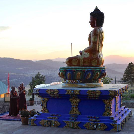 Lama Zopa Rinpoche, Ven. Roger Kunsang and Buddha Amitabha statue at Buddha Amitabha Pure Land, Washington, US, August 2016. Photo by Ven. Lobsang Sherab.
