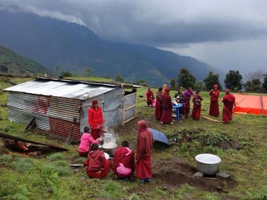 Some of the nuns of Tashi Chime Gatsal who were displaced following earthquake destruction.