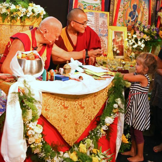 Lama Zopa Rinpoche during teaching at Maitreya Instituut, the Netherlands, July 2015. Photo by Ven. Thubten Kunsang.