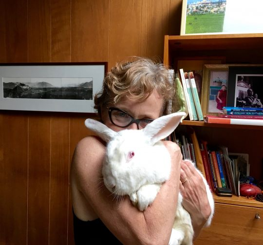 Wendy Cook and one of the 140 meat rabbits she helped liberate, Lincoln, Massachusetts, United States, September 2016. Photo courtesy of Wendy Cook.