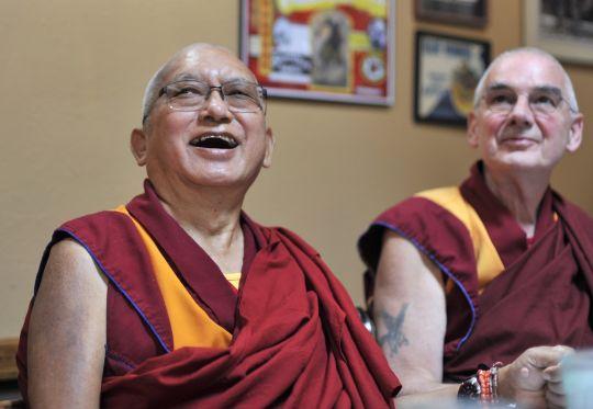 Lama Zopa Rinpoche with his attendant Ven. Roger Kunsang, Washington State, USA, September 2016.  Photo by Ven. Losang Sherab.