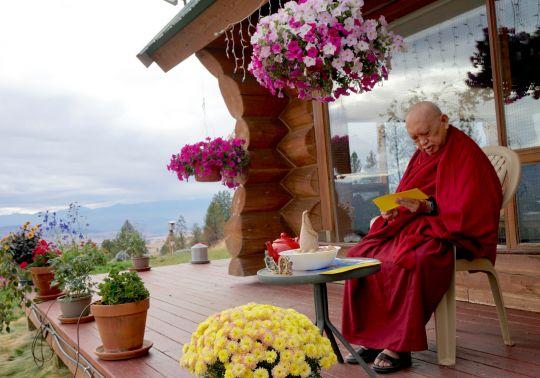 Lama Zopa Rinpoche praying at Buddha Amitabha Pure Land, Washington State, September 2016. Photo by Ven. Lobsang Sherab.