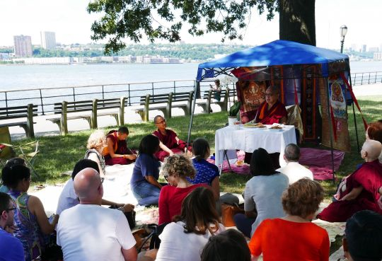 Lama Zopa Rinpoche teaches to the students of Shantideva Mediation Center, New York, US, July 2016. Photo by Ven. Lobsang Sherab.