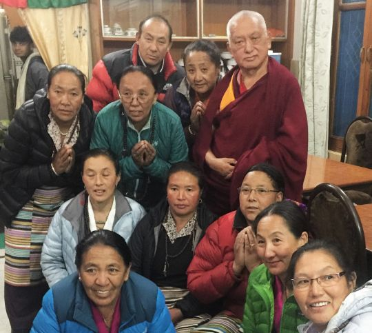 Lama Zopa Rinpoche visits with some Sherpa pilgrims, Tsopema, India, February 2016.  Photo by Ven. Roger Kunsang.