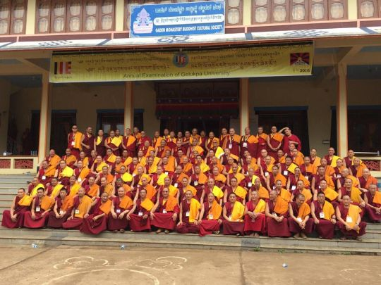 Participants in the 2016 Gelug exam at Gaden Lachi Monastery, India.