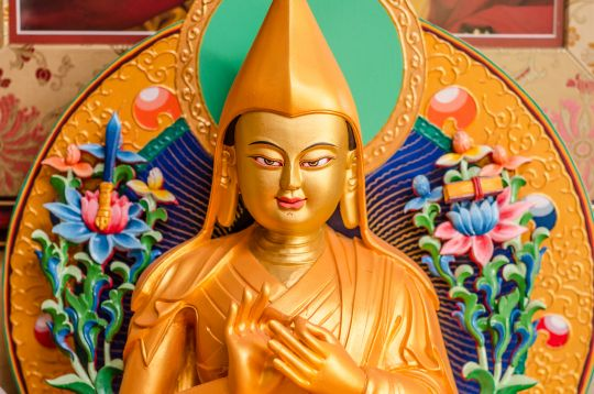 Lama Tsongkhapa statue at Lama Zopa Rinpoche's residence, Kachoe Dechen Ling, Aptos, California. Lama Tsongkhapa (1357–1419) is the founder of the Gelugpa school of Tibetan Buddhism. Je Tsongkhapa's Lamrim Chenmo or The Great Treatise on the Stages of the Path is one of the most renowned Tibetan Buddhist classics. Photo by Chris Majors.
