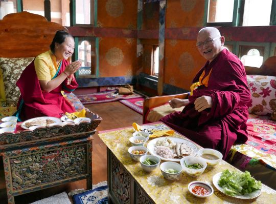 Rinpoche has lunch with Khandro-la in Bhutan, May 2016. Photo by Ven. Roger Kunsang.