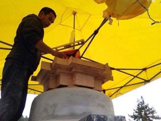 Crown of the 39-foot-tall Mahabodhi stupa.