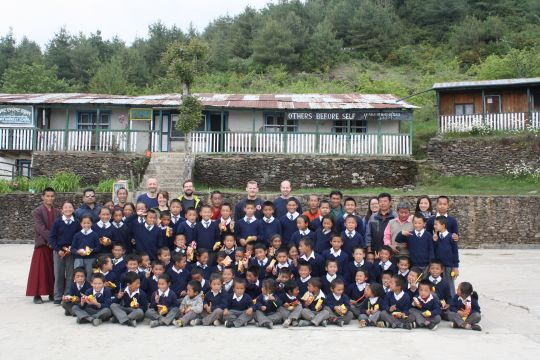 Some of the students of Sagarmatha Secondary School in Chailsa, Nepal.