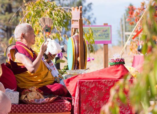 Lama Zopa Rinpoche at the Buddha Amitabha Festival, Washington State, USA, October 2016. Photo by Chris Majors.