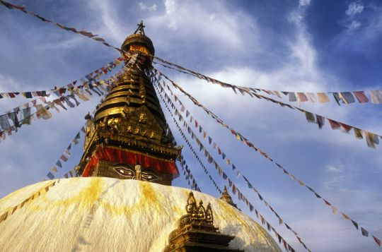 On holy days, offerings are made to holy objects in India, Nepal, and Tibet including the Swayambunath Stupa in Nepal.