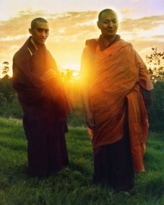 Lama Zopa Rinpoche and Lama Yeshe, Chenrezig Institute, Australia, 1975. Photo by Nick Ribush, restoration by David Zinn.