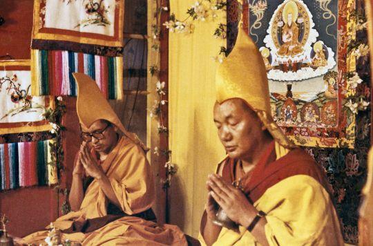 Lama Zopa Rinpoche and Lama Yeshe conducting a long life puja at end of First Enlightened Experience Celebration, Tushita Meditation Centre, Dharamsala, India, May 1982. Photo courtesy of Lama Yeshe Wisdom Archive.