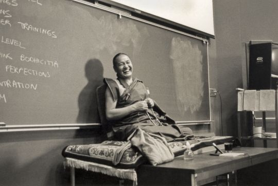 Lama Thubten Yeshe teaching at University of California at Santa Cruz, 1978. Photo by Jon Landaw.