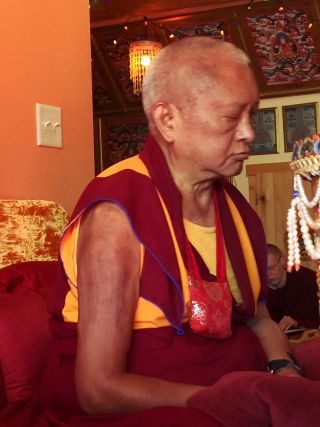 Lama Zopa Rinpoche during a puja offering, Washington State, USA, November 2016. Photo by Ven. Roger Kunsang.