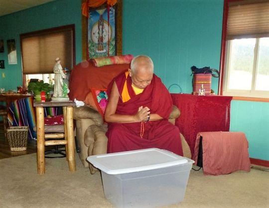 Lama Zopa Rinpoche says prayers, Buddha Amitabha Pure Land, Washington State, USA, November 2016.