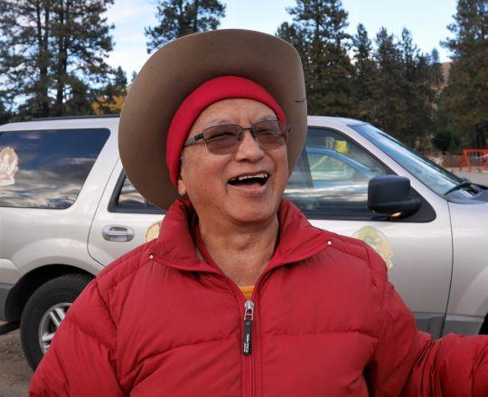 Lama Zopa Rinpoche preparing to go boating on Lake Omak, Washington, US, November 2016. Photo by Ven. Holly Ansett.