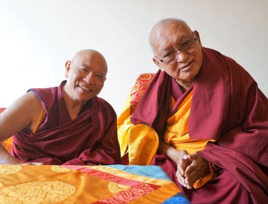 Lama Zopa Rinpoche meeting with Jhado Rinpoche, Kopan Monastery, November 2016. Photo by Losang Sherab.