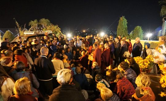 Going to the stupa one evening, Lama Zopa Rinpoche bumped into a few people and an impromptu teaching on the benefits of Namgyalam mantra. Kopan Monastery, November 2016. Photo by Ven. Lobsang Sherab.