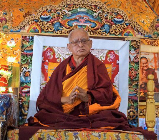 Lama Zopa Rinpoche giving his first teaching at this year's November course, Kopan Monastery, Nepal, November 2016. Photo by Ven. Lobsang Sherab.