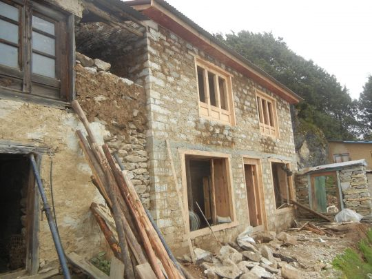 Lama Zopa Rinpoche's new room at Lawudo will be built on the ground floor and have a built in bathroom.