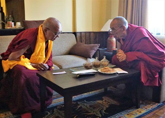Lama Zopa Rinpoche and Rizong Rinpoche enjoy a conversation at Kopan monastery, Nepal, November 2016. Photo by Ven. Lobsang Sherab.
