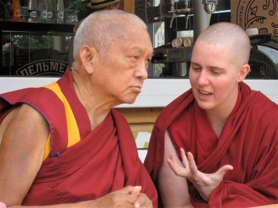 Lama Zopa Rinpoche with Ven. Yönten in Russia, 2015. Photo by Tenzin Chodron.