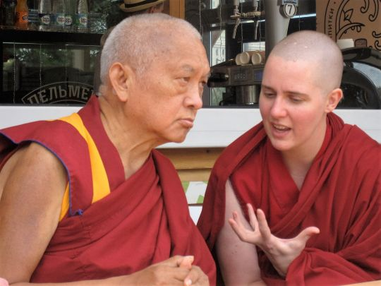 Lama Zopa Rinpoche with Ven. Yönten in Russia, 2015. Photo by Tenzin Chodron.