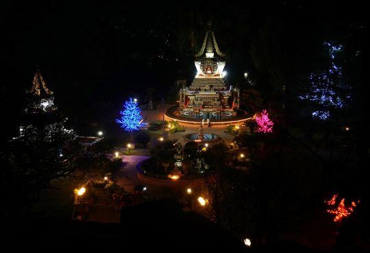 LightofferingsaroundstupasatKopanMonastery, Nepal, December 2016. Photo by Ven. Lobsang Sherab.