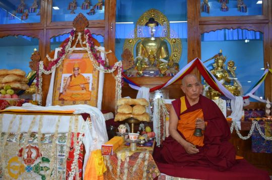 Jangtse Choje Rinpoche leading the opening ceremony at the new Ngari Khangtsen temple.