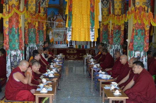 Opening ceremony at the new Ngari Khangtsen temple on Lhabab Duchen. The new temple will be able to accommodate all the monks of this khangtsen.