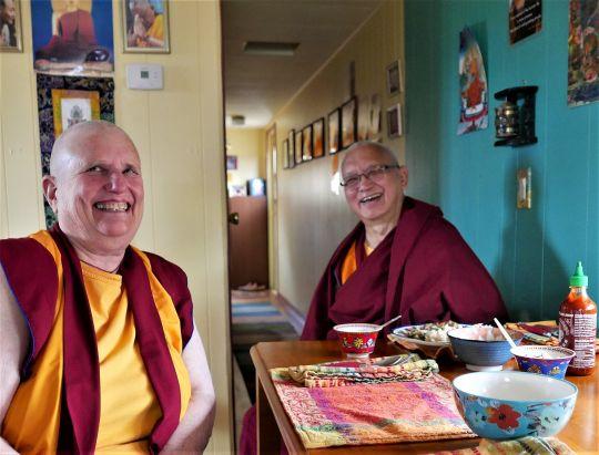 Lama Zopa Rinpoche enjoying a vegetarian lunch made by Ven. Wongmo, Buddha Amitabha Pure Land, Washington State, USA, October 2016. Photo by Ven. Roger Kunsang.