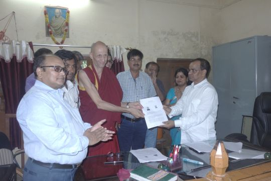 Ven. Kabir Saxena and the handover team at the registrar's office in Kushinagar, UP, India. The land for the statue in Kushinagar had been officially signed over by the state government of Uttar Pradesh, August 19, 2016. Photo courtesy of Maitreya Buddha Project Kushinagar.