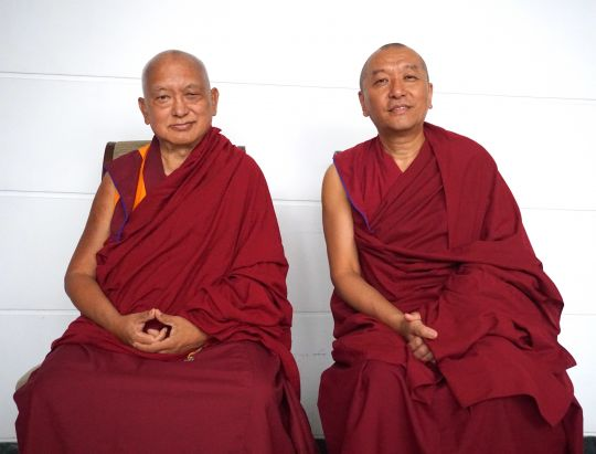 Lama Zopa Rinpoche with the new abbot of Sera Je Monastery, Ven. Choesang Rinpoche.