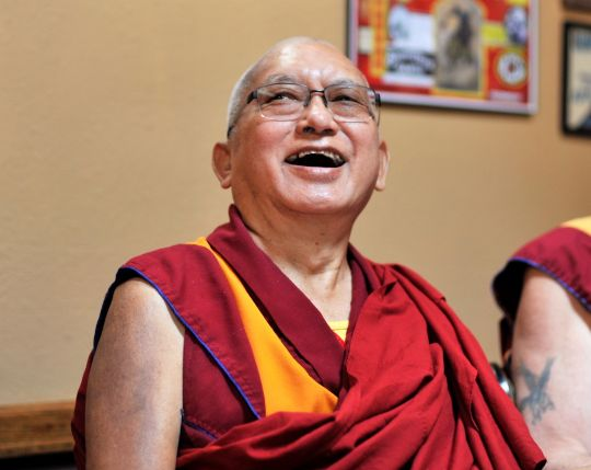 Lama Zopa Rinoche enjoys himself at a restaurant, Washington State, USA, autumn 2016. Photo by Ven. Lobsang Sherab.