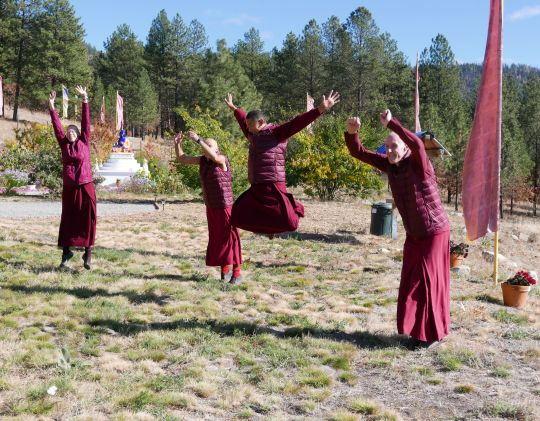 Sangha jumping for joy at Buddha Amitabha Pure Land, Washington State, USA, November 2016. Photo by Ven. Roger Kunsang.