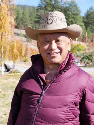 Lama Zopa Rinpoche joking with Sangha at Buddha Amitabha Pure Land, Washington State, USA, November 2016. Photo by Ven. Roger Kunsang.